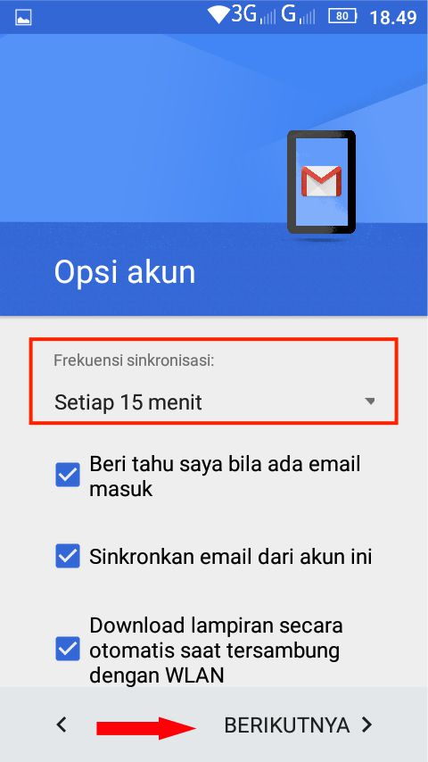 Akses email imappop3 di android